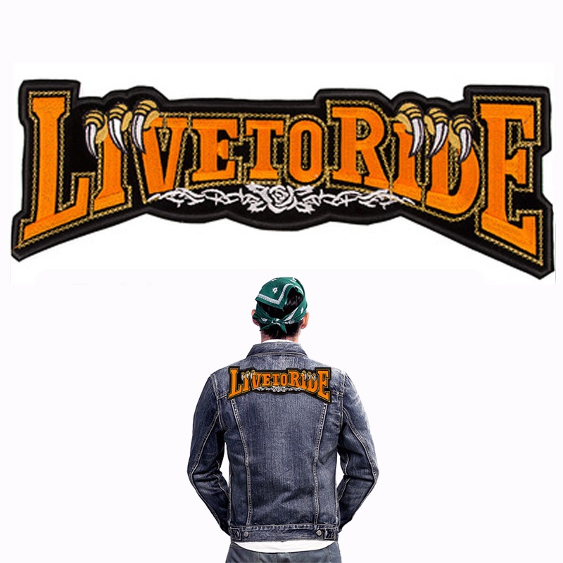 Harley Riders Patch 11.5*32.2cm Motorcycle Jacket Jeans DIY Accessory Decoration LIVE TO RIDE Embroidered Sew-on Patches(China (Mainland))