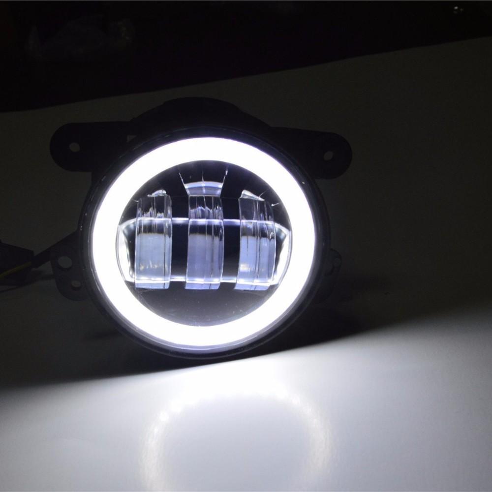 Купить Круглый 7 дюймов harley светодиодные фары DRL Проектор Daymaker фары и 4 ''дюймовый led противотуманные фары Halo Кольцо для Jeep Wrangler JK CJ