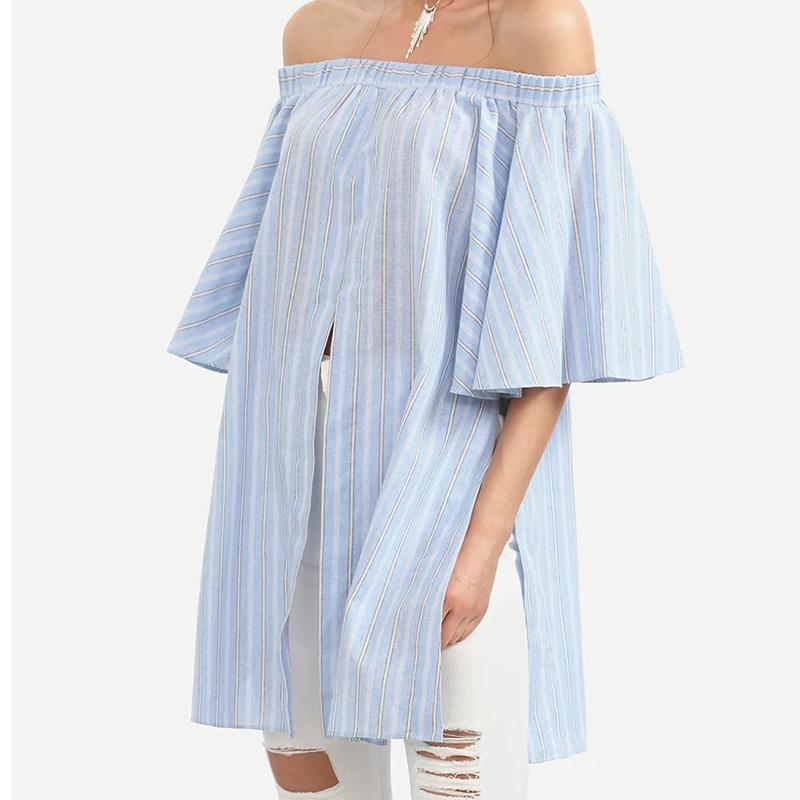 Cozy Cotton Off Shoulder Blouse Summer Slash Neck Half Sleeve Open Side Shirt Women Loose Plus Size FC1006(China (Mainland))