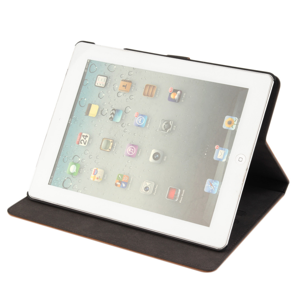 New Luxury Leather Smart Case Cover Stand For Apple For Apple ipad 2 3 4 and ipad 5(Air) Promotion(China (Mainland))