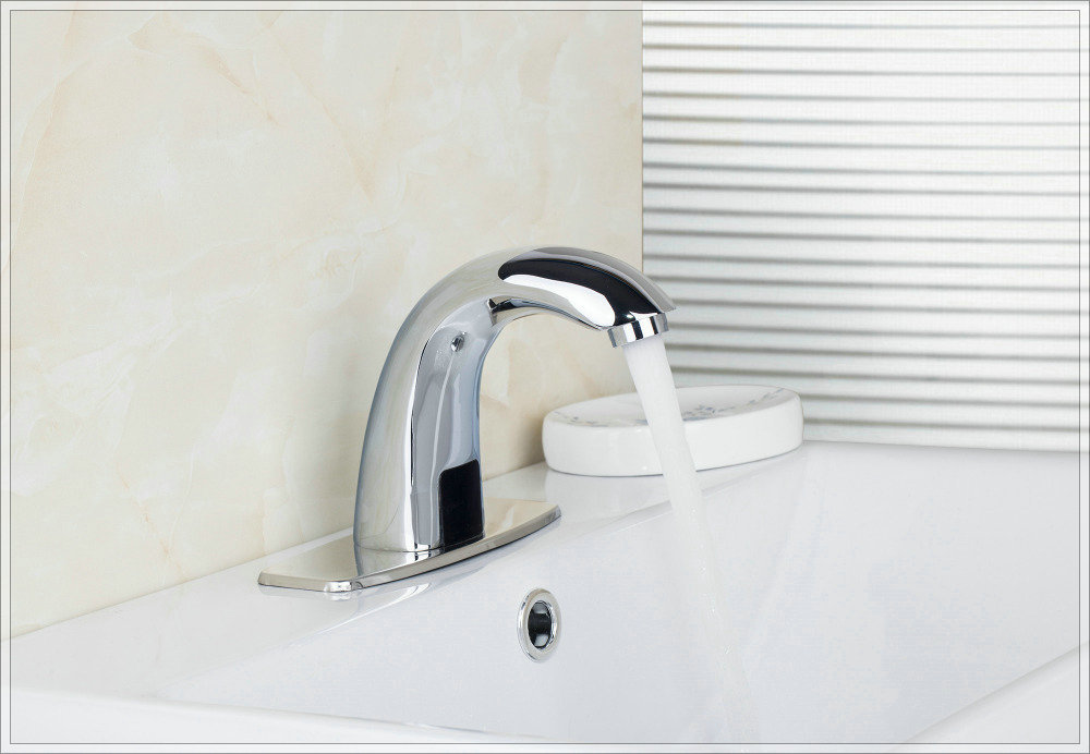 Touchless Electronic Faucet DC6V/AC110~220V Power Automatic Tap Sensor Faucets Hands Mixer Basin Sense Faucet G7841 water saver(China (Mainland))