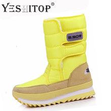 Weibliche Schnee Stiefel Winter Stiefel frauen flache wasserdichte 2019 Schuhe Botas Mujer Botas femininas de inverno Schwarz Weiß plus größe(China)