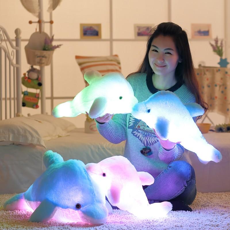 45cm Creative Luminous Plush Dolphin Doll Luminous Pillow, Plush Toys, Hot Colorful Doll Kids Children Party Birthday Gifts(China (Mainland))