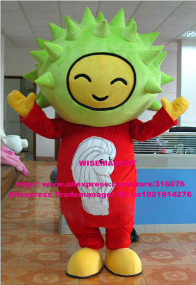 Happy Green Durian Jackfruit Fruit Mascot Costume Yellow Fingers Feet Red Fat Body Big Head Yellow Shoes Adult Size No.5693 FS(China (Mainland))