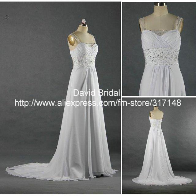 Real Sample W232 Sleeveless White Royal Chiffon A Line Beach Wedding Dresses
