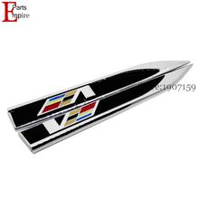 V Black Logo Side Fender For Cadillac CTS SRX Escalada BLS XT5 CT6 X Chrome Metal Sticker Emblem Badge Decal Sticker Badge 2Pcs