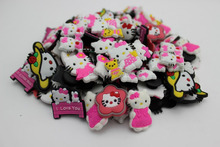 Free Shipping 100pcs/lot Kitty PVC shoe charms ,shoe accessories, shoe decoration fit croc for children gift 2(China (Mainland))