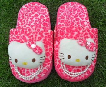 Autumn and winter Hello Kitty stripe derlook plush floor lovers thermal slippers cotton drag