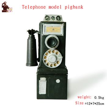 Antique craft antique telephone model pigbank handmade craft home decoration bar coffee house display birthday gift