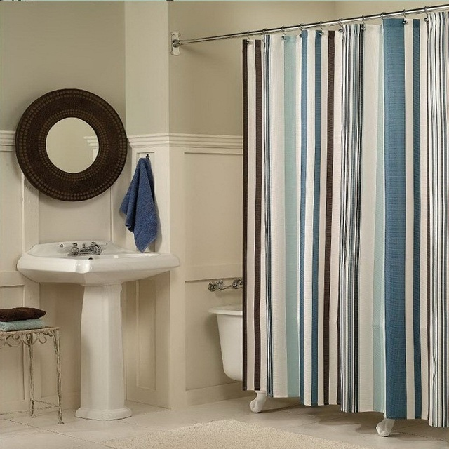 YL26 Europe Striped Waterproof Elegant Shower Curtain