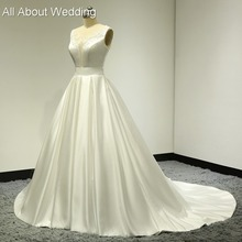Buy Keyhole Back Illusion Neckline Sexy Satin Wedding Dresses Real Photo Lace Appliqued Pearl Beaded Bridal Gown Factory Custom Made for $168.15 in AliExpress store