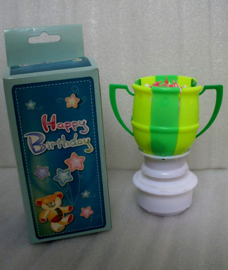 Free shipping Roating birthday candle music football cup candle Fireworks cake candle automatic blossom party Candle(China (Mainland))