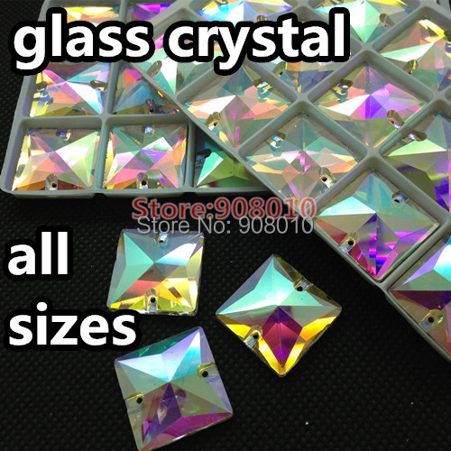 Square shape Sew On Glass Crystal Fancy Stones crystal AB 10mm 12mm 14mm 16mm 22mm Sewing Crystal Beads Dress Making,Shoes