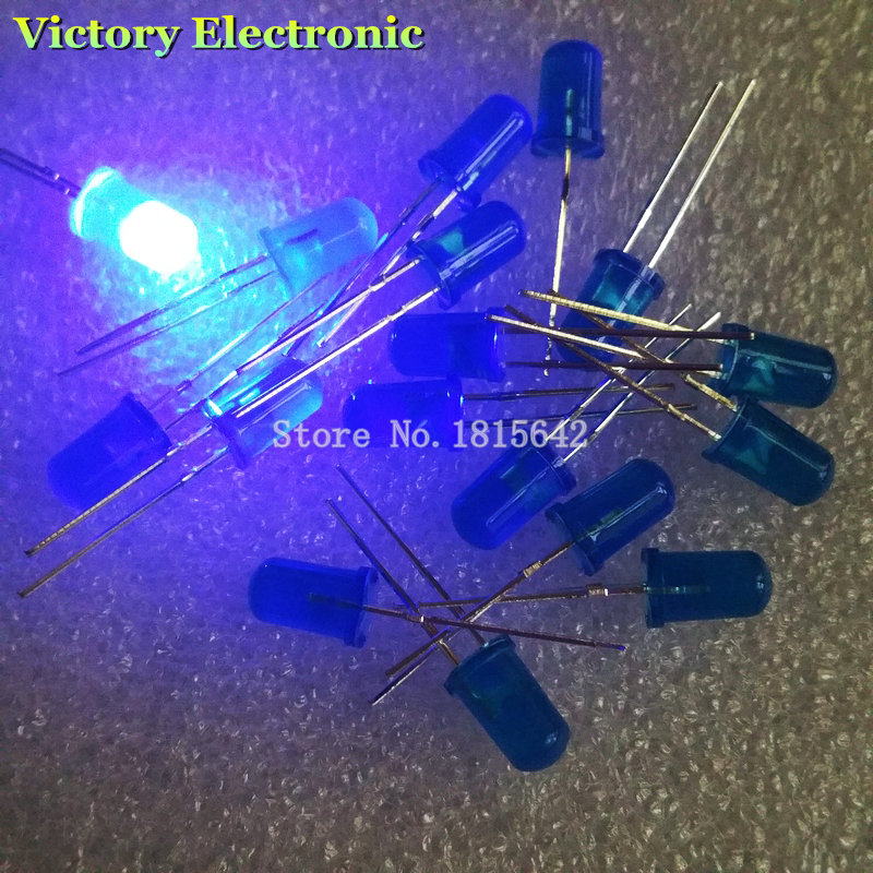 100 PCS/Lot 5MM Blue LED Diode Round Diffused Blue Color Light Lamp F5 DIP Highlight New Wholesale Electronic(China (Mainland))