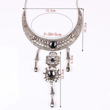 Antique Vintage Jewelry Flower Within Crystal Pendant Ancient Classic Design Torques Choker Statement Necklace For Women