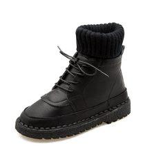 COOTELILI örme çorap Ayakkabı Kadın yarım çizmeler Kadınlar Için Moda kauçuk ayakkabı Kadın PU Deri Sıcak Kadın Ayakkabı 35-40(China)