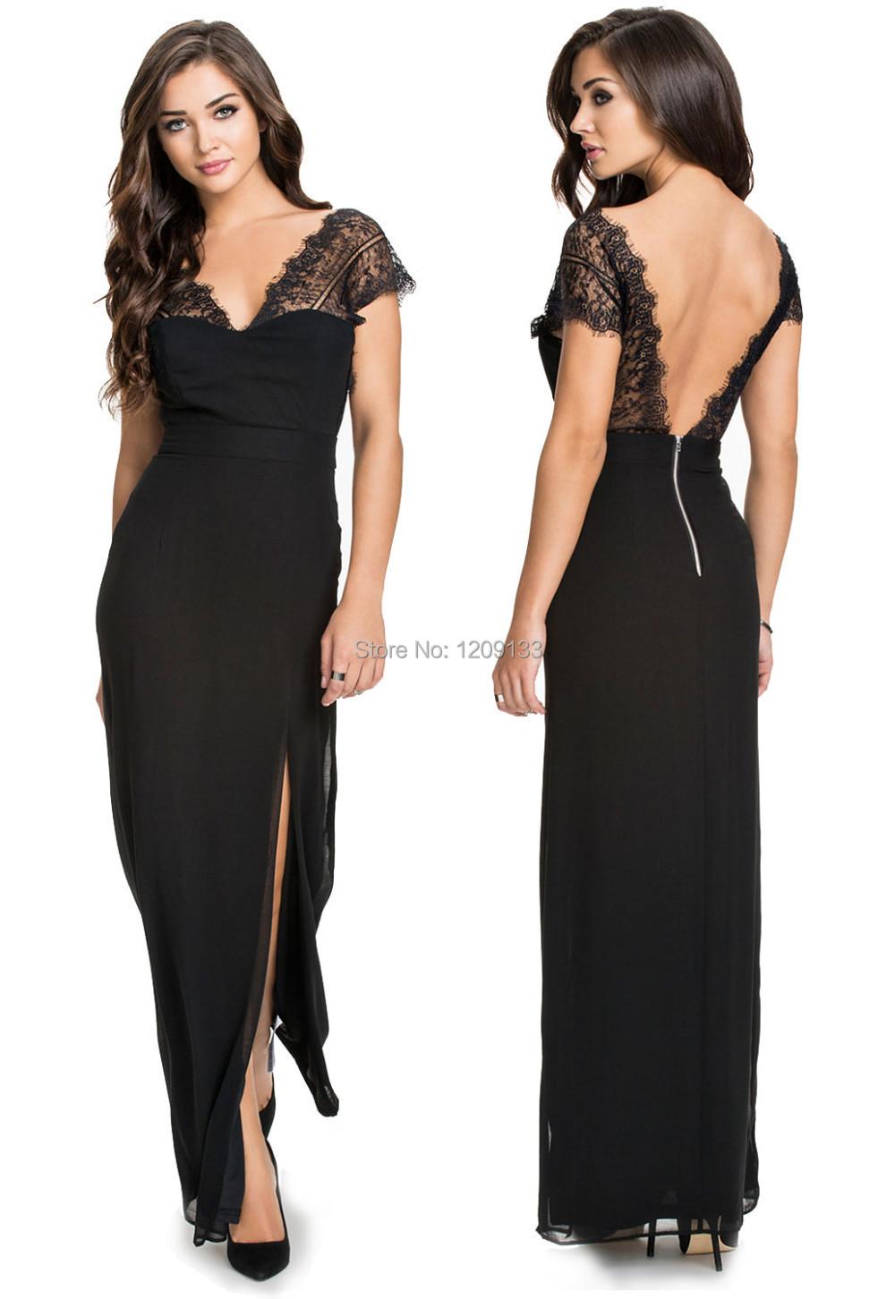 Формальные женщины платье вечера партии шикарный сексуальный спинки разрез стороны шифон кружевном платье abendkleider 2015 vestidos de festa лонго