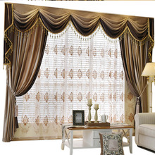 Helen Curtain Set !! Luxury European Design Splice Valance Curtains For Living  Room Velvet Fabric Curtains Embroidered Sheer