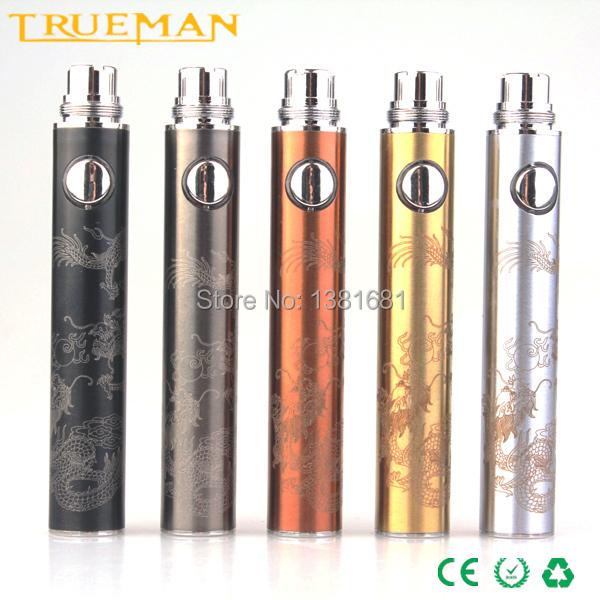 Trueman Evod Passthrough Battery 650mAh 900mAh 1100mAh Vacuum Coating USB For CE5 CE6 MT3 Vaporizer 5 Corlor USB vv ecig battery(China (Mainland))