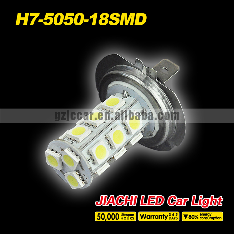made in china led light factory ,30pcs/lot 12 volt lights headlight h7 5050 18smd motorcycle/car top fog lamp(China (Mainland))