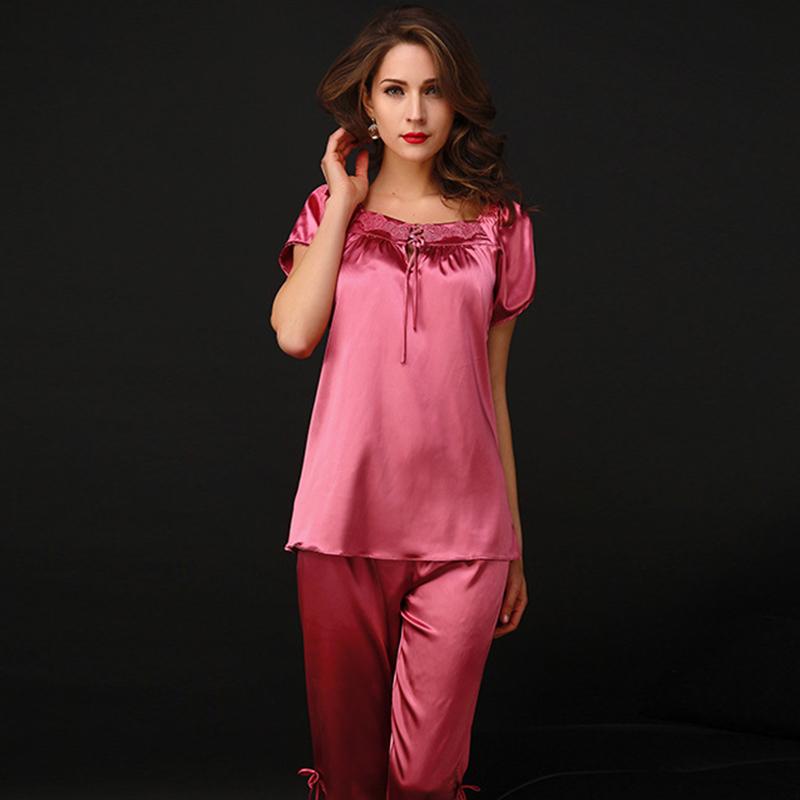 Summer Women Pajamas Square Collar Emulation Silk Satin Lace Sexy V-Neck Sleepwear Female 2016 Fashion Short Sleeve Pijama S6005(China (Mainland))