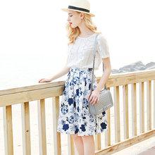 2016 New fashion women's Elegent Cute Blue Folar Print Chiffon Pleated WomenSkirts Style High Waist Skirt