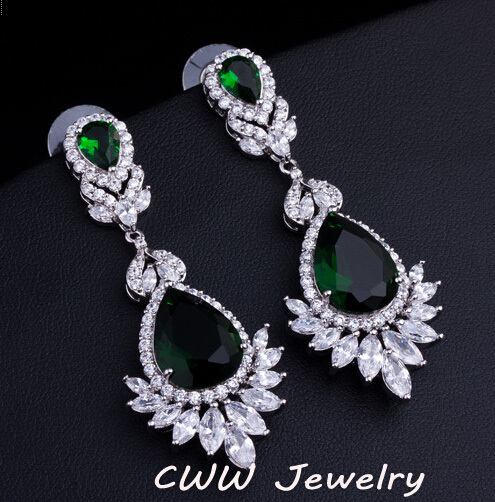 Emerald green chandelier earrings thejots silver chandelier earrings promotionshop for promotional silver lighting ideas mozeypictures Image collections