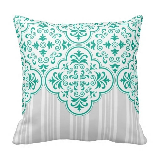 Home Pillow Home Cover Emerald Green Classy Stripes Damask Throw Pillow Case (Size: 20