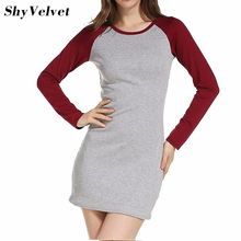 Buy 2017 Autumn Winter New Round Neck Slim Women Sexy Dress Women's Color Block Long Sleeve Bodycon Tshirt Casual Dress Plus Size for $12.09 in AliExpress store