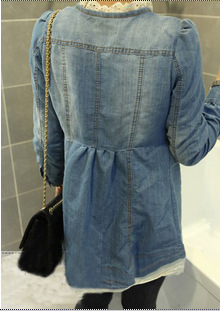 Free Shipping 2015 New Womens Lace Patchwork Long Sleeve Denim Shirt Fashion Ladies Slim Jeans Blouses Blusas FemininasОдежда и ак�е��уары<br><br><br>Aliexpress