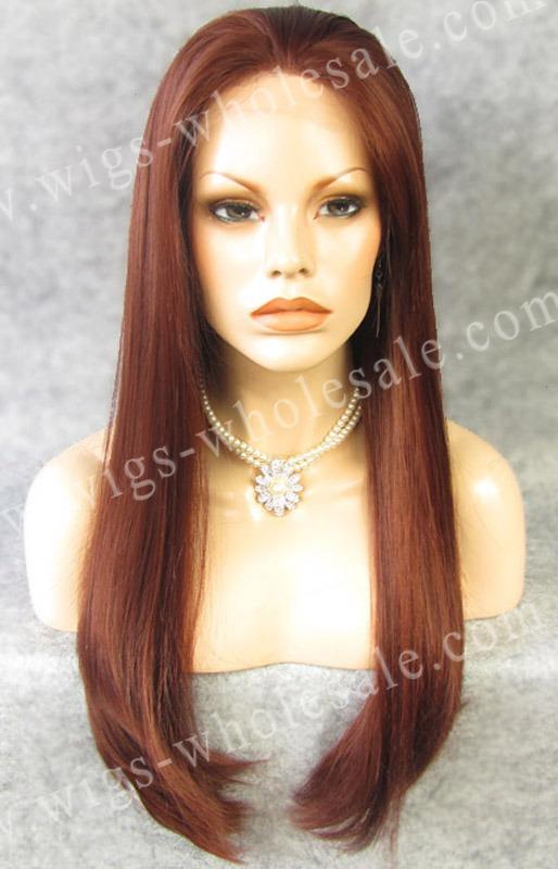 long  Straight Heat  Synthetic lace front wigs  auburn N2-35<br><br>Aliexpress