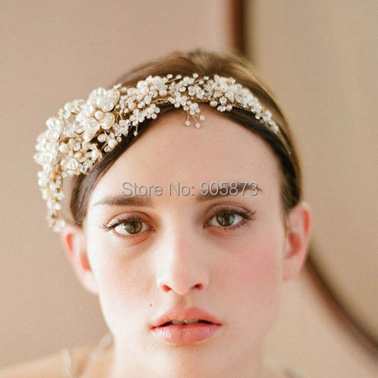 Free shipping NEW arrival luxurious gold color crystal flower bridal hairbands crystal tiara wedding hair jewelery SE1001(China (Mainland))