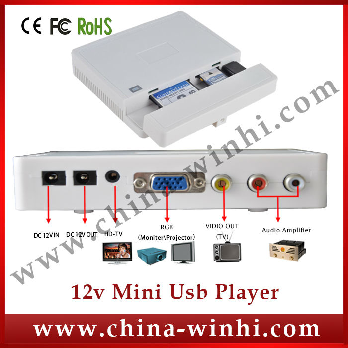 Plastic shell Playlist Schedule Management Digital Media Player USB SD CF card Guaranteed 100% Factory Direct Hot Products(China (Mainland))
