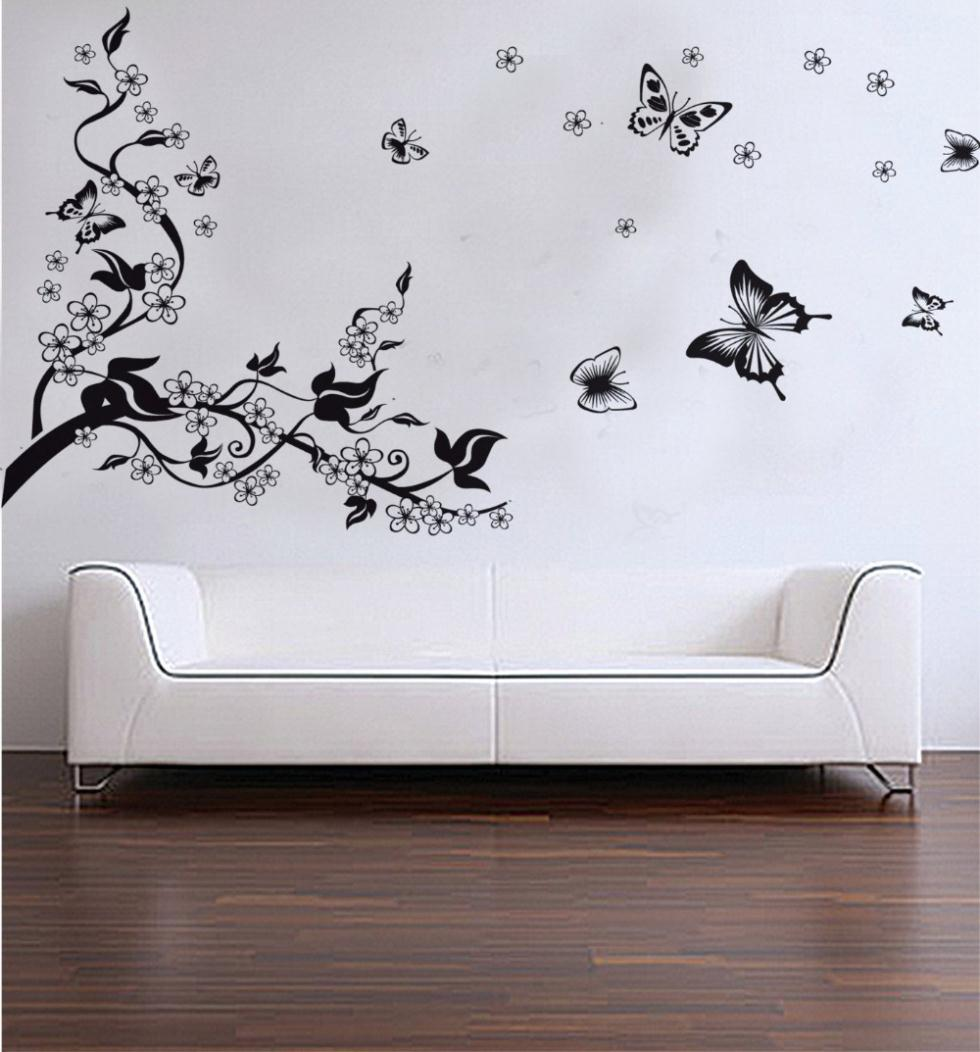 Trees and butterfly vinyl wall stickers black butterfly for Butterfly wall mural stickers