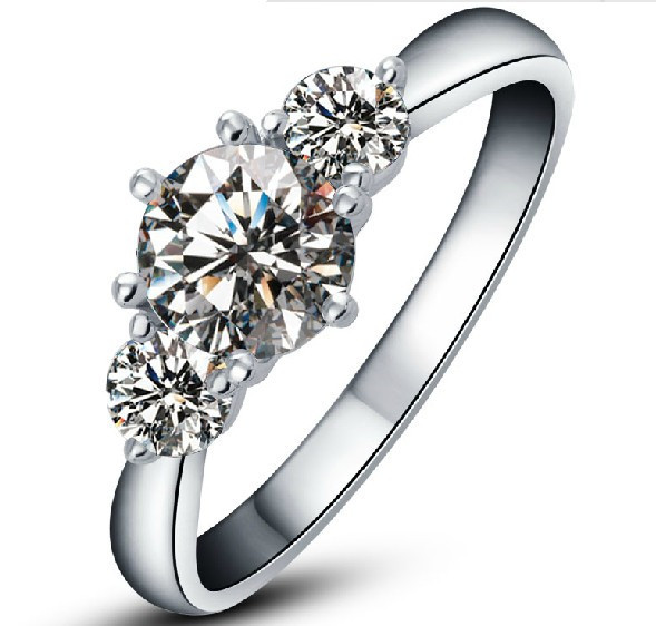 2Ct White Gold 18K Three Stone Great Real Moissanite Women Engagement Ring Romantic Anniversary Gift For Her Stone Test Positive(China (Mainland))