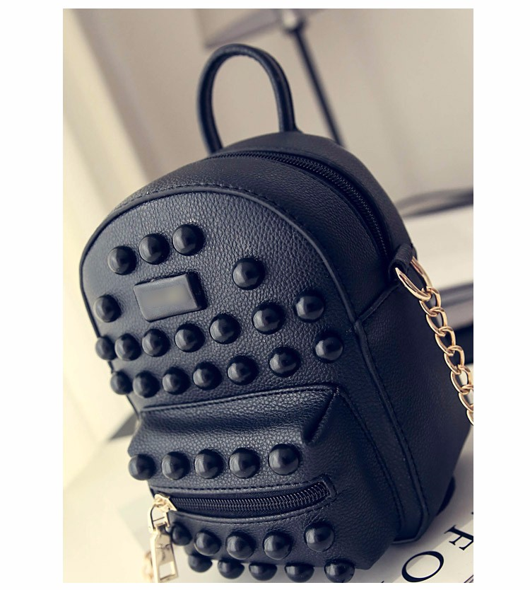 Edgy Big Rivet Casual Small Bag 2016 Fashion New Stylish PU Shoulder Bag Litchi Stria Leather Ladies MINI Chain Crossbody Bag