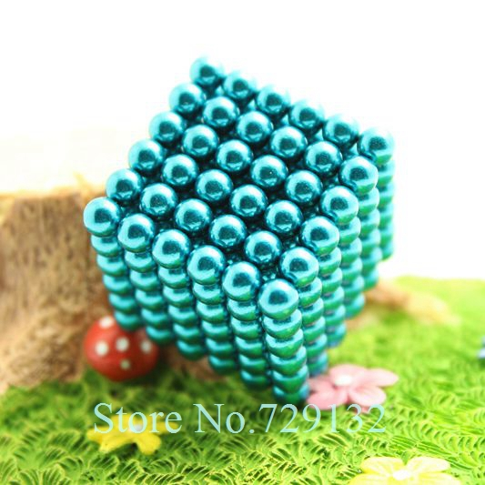 Free shipping 5mm Buckyballs Magnetic balls Neocube Magic cube Magnet Puzzle (Sky blue color, Round tin box)(China (Mainland))