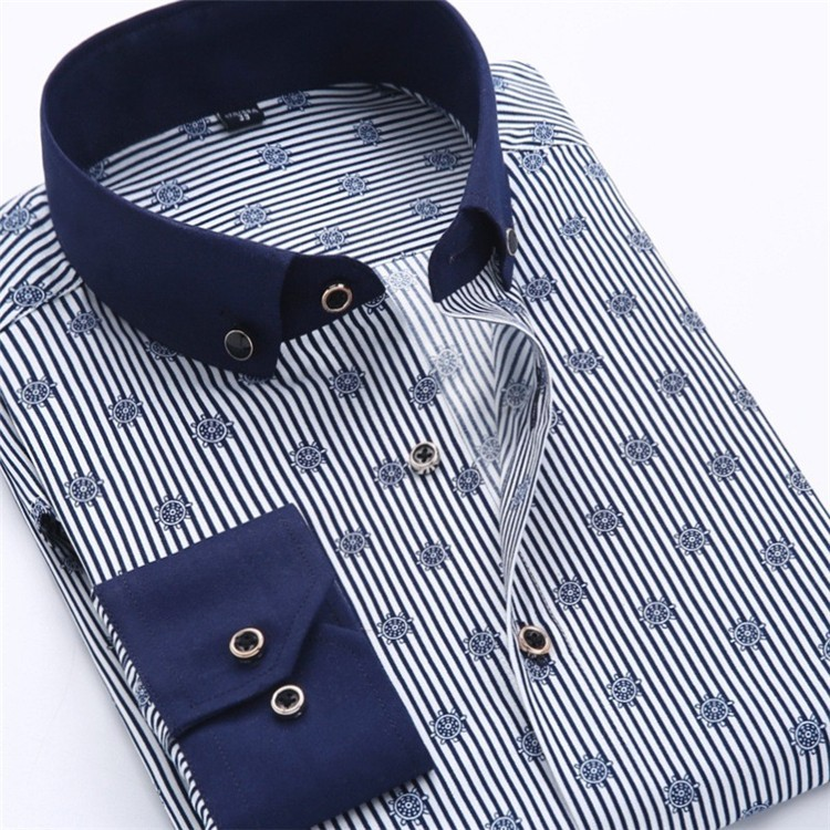 Men Dress Shirt 2016 Spring New arrival Button Down Collar High Quality Long Sleeve Slim Fit Male Business Shirts M-5XL YN02603