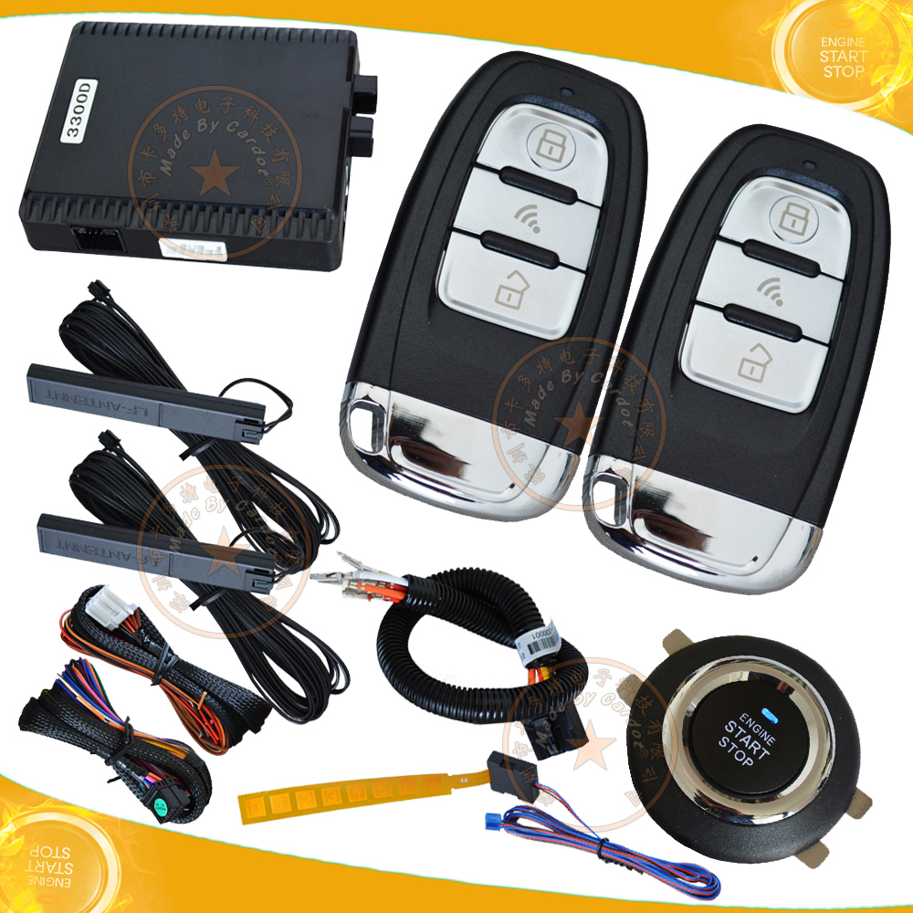 universal RFID car alarm system 2pcs hopping code key smart remotes pke enable&disable remote start smart detection,push stop(China (Mainland))