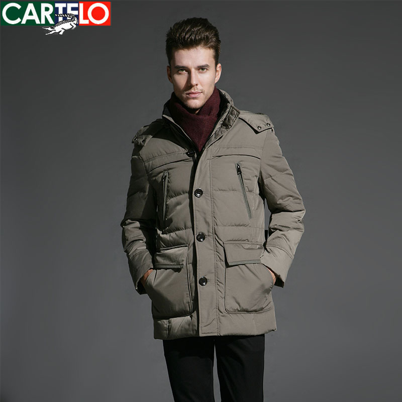 Cartelo/brand 90% Duck S-xxxl Mmiddle-aged Business Down Jacket Winter Hooded Collar Male Jackets Warm Thick Coat For Man(China (Mainland))
