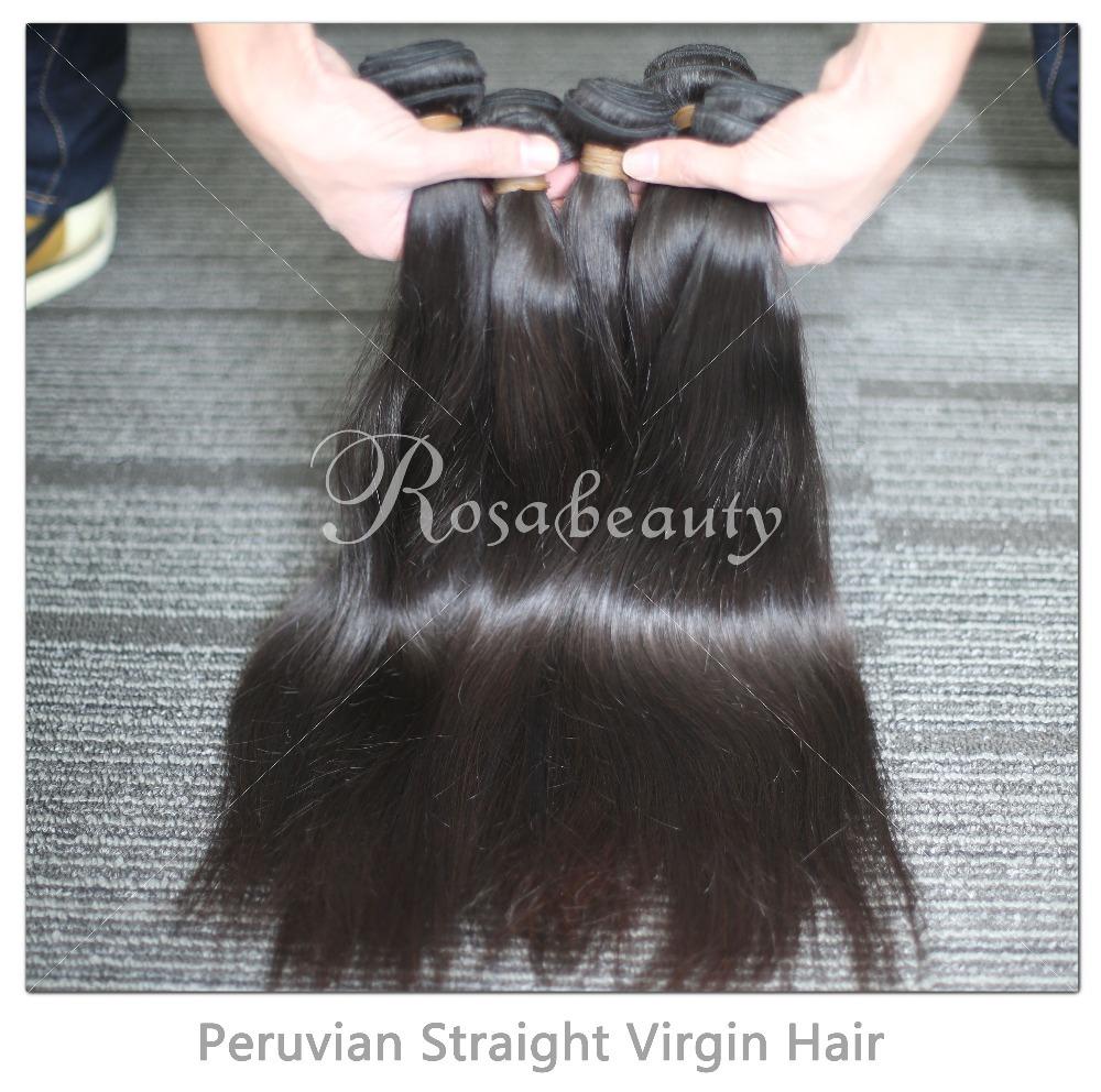 Peruvian Virgin Hair Straight 4Pcs Lot 100% Human Hair Extensions Rosa Hair Products Free Shipping(China (Mainland))