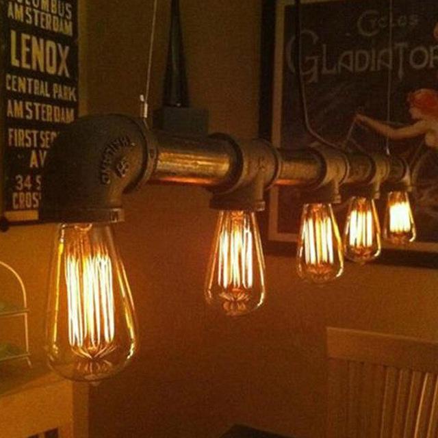 Vintage Steampunk Industrial Water Pipe Ceiling Lamp 5 Light