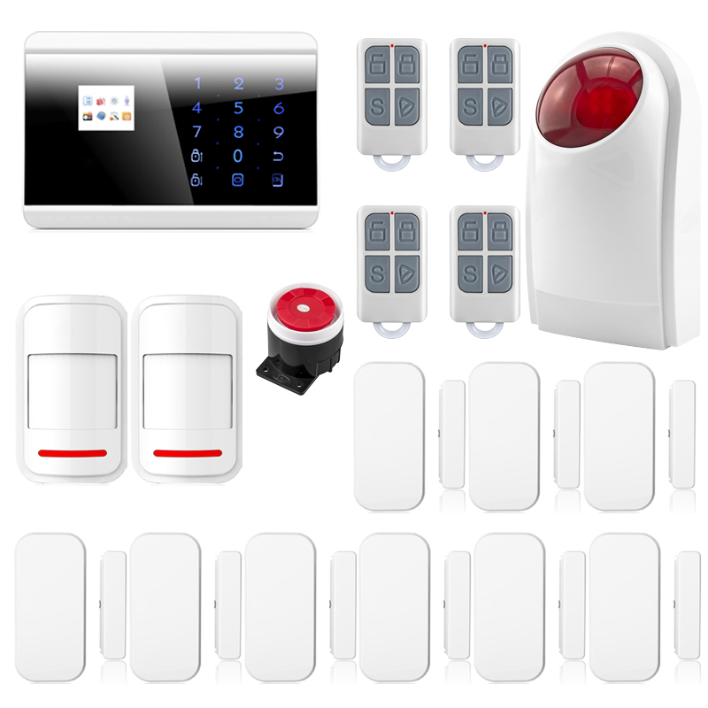 Quad Band Touch Keypad TFT Dislay Wireless GSM PSTN House Security Voice Burglar Alarm IOS Android APP Remote control ARM P717(China (Mainland))