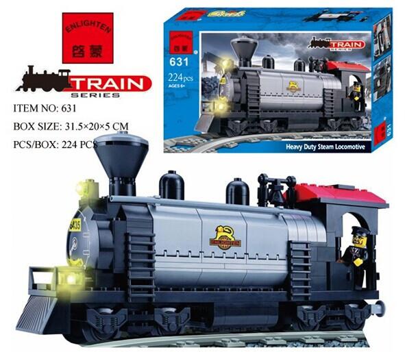 Enlighten 631 Heavy Duty stram Locomotive Series Rail Train locomotive Minifigure 2016 Assemble Building Block Toys(China (Mainland))