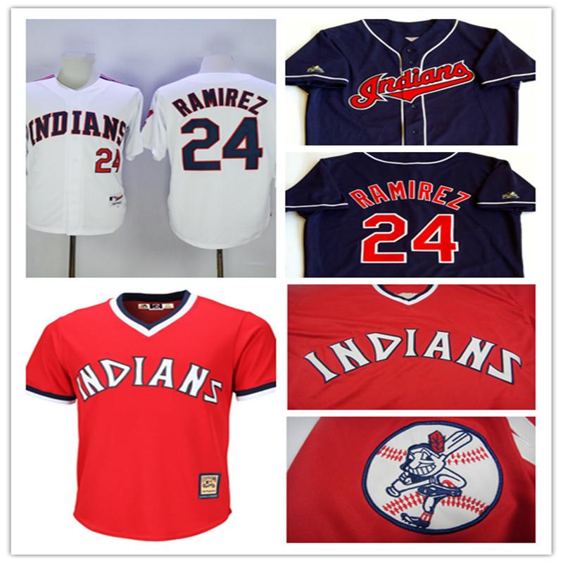 Men's Stitched red Cheap Indians Throwback Baseball Jerseys Home white Navy blue #24 Manny Ramirez Jersey(China (Mainland))