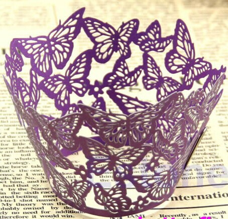 ON sale free shipping 12pcs Purple Butterfly Laser cut Cupcake wrappers, party baby shower Cup cake wrap(China (Mainland))