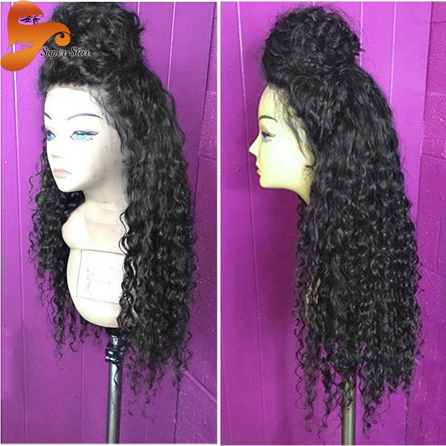 Mongolian Kinky Curly Full Lace Human Wigs For Black Women Glueless Full Lace Wig Afro Kinky Curly Lace Front Wig With Baby Hair(China (Mainland))