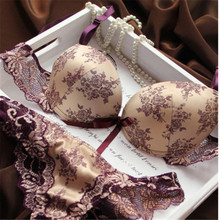 Buy Sexy Women Thin Lace Floral Underwear Push Bra Sets & Panty V Plunge Embroidery Lingerie Sets Cup B C for $6.18 in AliExpress store