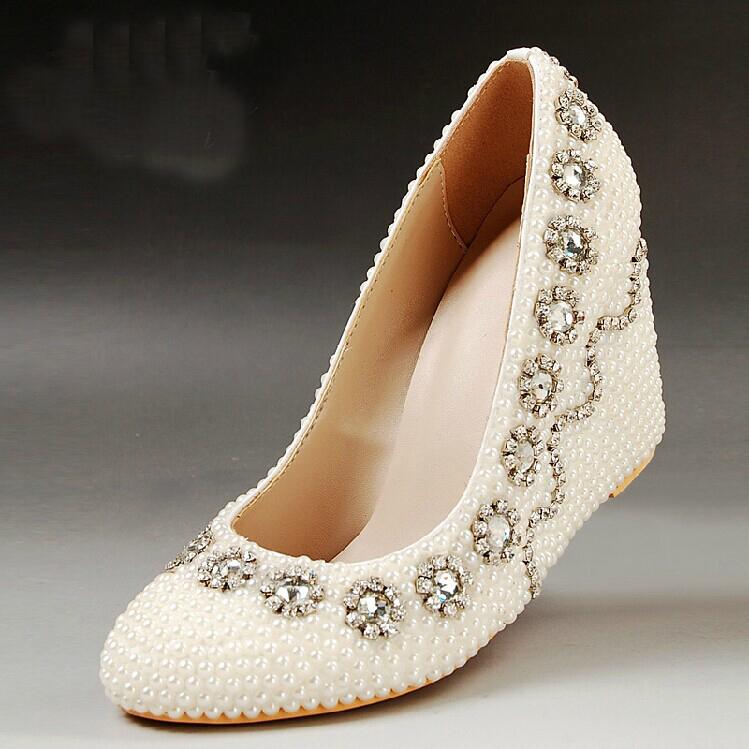 2015 wedge heels bridal wedding dress shoes fashion
