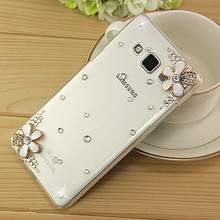 Buy New 3D White Flower Bling Crystal Diamond Transparent Cell Phone Shell Back Cover Hard Case Samsung Galaxy J3 for $1.39 in AliExpress store